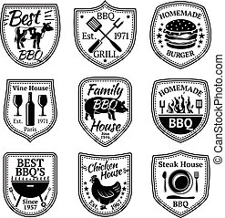 Vector set of grill, barbecue and steak labels.