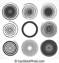 Vector set of grunge circle brush strokes.