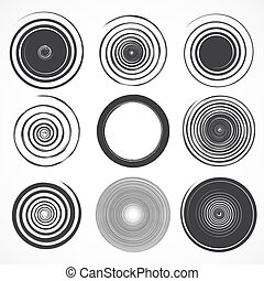 Vector set of grunge circle brush strokes.