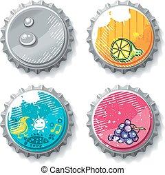 Vector set of grunge metallic bottle caps