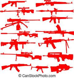 Vector Set of Guns - Set of detailed gun outlines. Easy to...