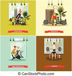 Vector set of gym posters. Fitness and sport concept