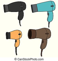vector set of hair dryers