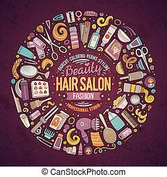 Vector set of Hair salon cartoon doodle objects