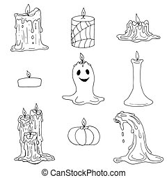 vector set of Halloween and melted wax candles