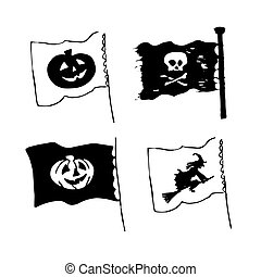 Vector set of Halloween flags in sketch style with pumpkins, skull and witch