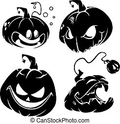 Vector set of Halloween pumpkins - Vector set of funny...