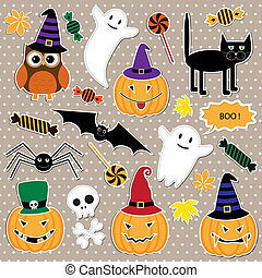 Vector set of Halloween stickers