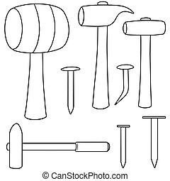 vector set of hammer and nails