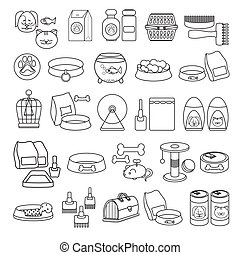 Vector set of hand drawn black line icon.