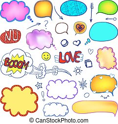 VECTOR set of hand-drawn blank comic elements, colored