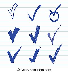 Vector set of Hand-drawn check