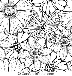 Vector set of hand drawn colorless flowers and leaf branch. illustration isolated on grey