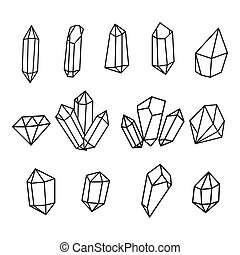 Vector set of hand drawn crystals.