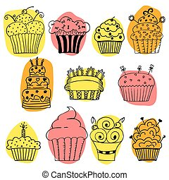Vector set of hand drawn cupcakes on white background