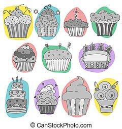Vector set of hand drawn cupcakes