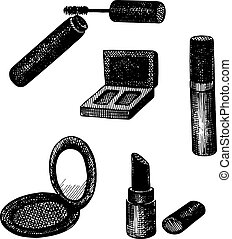 Vector set of hand drawn decorative cosmetics