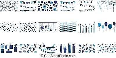 Vector set of hand drawn decorative elements for Birthday card. Garlands, balloons, gift boxes, candies, lollipops, bunting, stars, confetti, candles