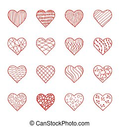 Vector set of hand drawn doodle hearts