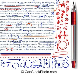 VECTOR set of hand drawn doodle icons and realistic pen. Elements set. Red, orange and blue colors