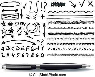 Vector Set of Hand Drawn Elements with Realistic Black Pen.
