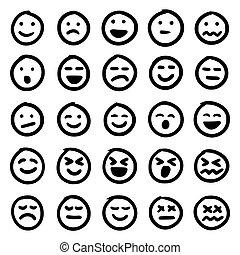 Vector set of hand drawn emoticons (emoji)