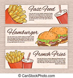vector set of hand drawn fast food banners with french fries, hamburger and soda water