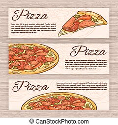 vector set of hand drawn fast food banners with pizza