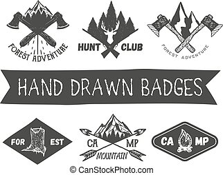Vector set of hand drawn forest camp labels in vintage style. Design elements, icons, logo, emblems and badges isolated on white background