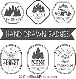 Vector set of hand drawn forest camp labels in vintage style. Logotype template illustration with tree and mountains.