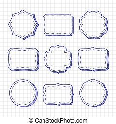 Vector set of hand drawn frames