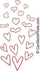 Vector set of hand drawn hearts on white background