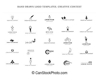 Vector set of hand drawn icons. Creative Contest. Premade...
