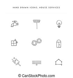 Vector set of hand drawn icons. Housekeeping and home repairs.