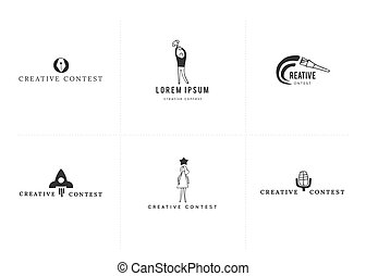 Vector set of hand drawn icons. Premade logo templates....