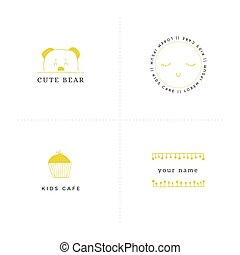 Vector set of hand drawn illustrations. Premade logo...