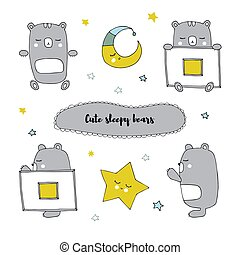 Vector set of hand drawn isolated elements, sleepy bear in different positions.