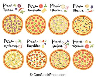 Vector set of hand drawn pizza popular varieties.