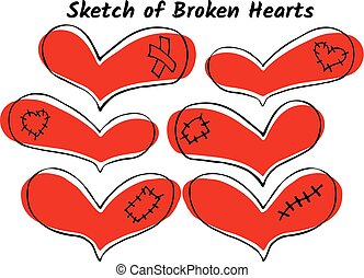 Vector set of hand drawn red hearts
