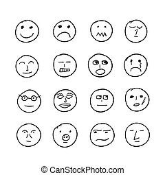 Vector set of hand drawn round emoticons with different emotions