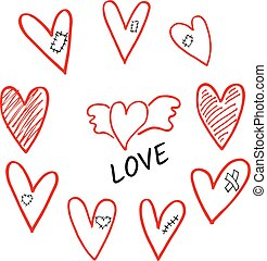 Vector set of hand drawn shaded hearts whis wings, plaster, scar and patch