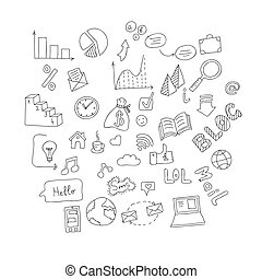 Vector set of hand drawn social doodles