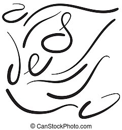 Vector set of hand drawn underline. Felt tip brush line.