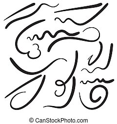 Vector set of hand drawn underline. Felt tip brush line. Swoosh element.