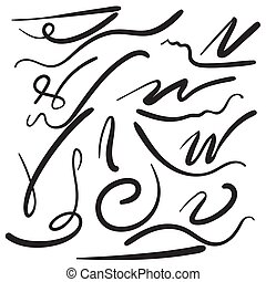 Felt tip brush line. - Vector set of hand drawn underline....