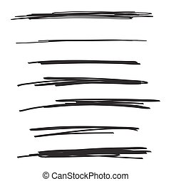 Vector set of hand drawn underline. Felt tip brush smears. Paint stripe.