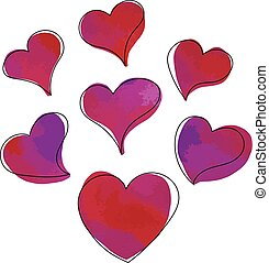 Vector set of hand drawn watercolor hearts