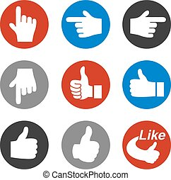 Vector set of hand gesture, button - best choice symbol, next, more sign
