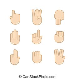 Vector set of hand gestures icons. Sign language.