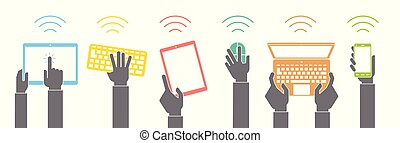 Vector set of hand icons holding various hi-tech computer and communication devices. Illustration of hands holding hi tech devices.